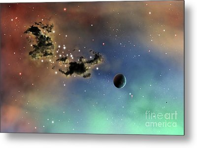 A Lonely Planet Is Lit By Two Stars Metal Print by Brian Christensen