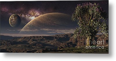 A Lonely Tree On An Extraterrestrial Metal Print