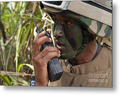 A Malaysian Paratrooper Maintains Metal Print by Stocktrek Images