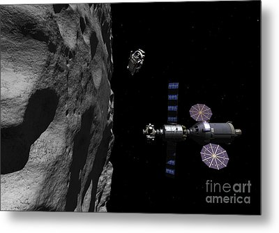 A Manned Maneuvering Vehicle Descends Metal Print by Walter Myers