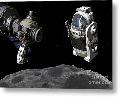 A Manned Maneuvering Vehicle Prepares Metal Print by Walter Myers