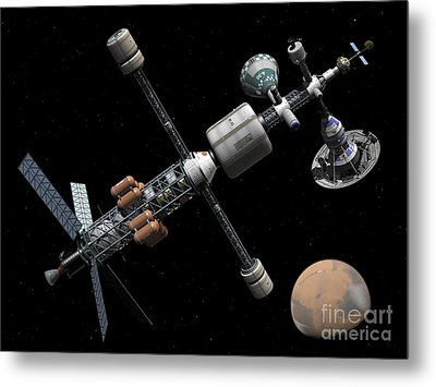 A Manned Mars Cycler Space Station Metal Print by Walter Myers