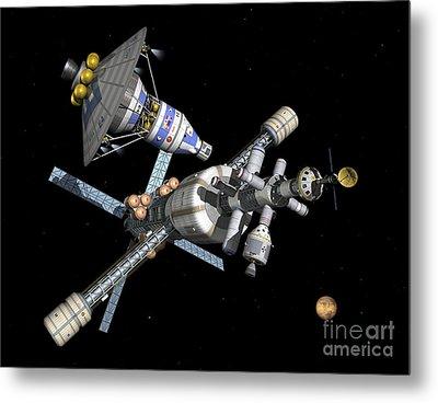 A Manned Mars Landerreturn Vehicle Metal Print by Walter Myers