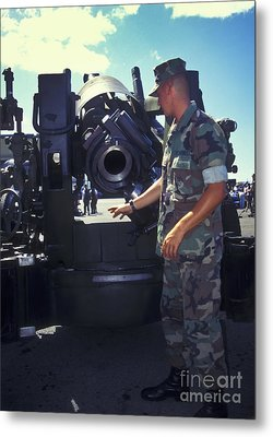 A Marine Instructs How To Pen Metal Print by Michael Wood