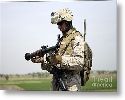 A Marine Looks At A Brand New Metal Print by Stocktrek Images