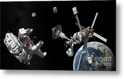 A Mars Cycler Travels By The Earth Metal Print by Walter Myers