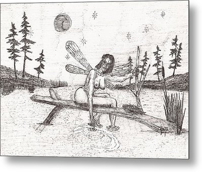 A Moment With The Moon... - Sketch Metal Print