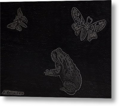 Metal Print featuring the drawing A Moonless Summers Night by Gerald Strine