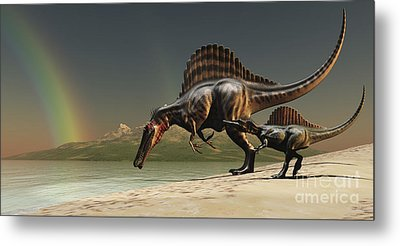 A Mother Spinosaurus Brings Metal Print by Corey Ford