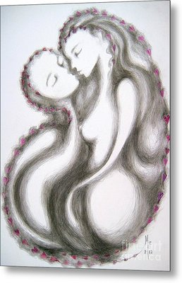 Metal Print featuring the drawing A Mother's Gratitude by Marat Essex