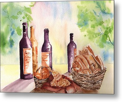 A Nice Bread And Wine Selection Metal Print by Sharon Mick