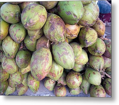 A Number Of Tender Raw Coconuts In A Pile Metal Print by Ashish Agarwal