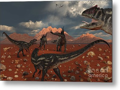A Pack Of Allosaurus Dinosaurs Track Metal Print by Mark Stevenson