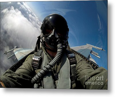 A Pilot In The Cockpit Of An F-16 Metal Print by Stocktrek Images