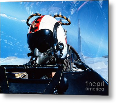 A Pilot Sitting In The Back Metal Print by Dave Baranek