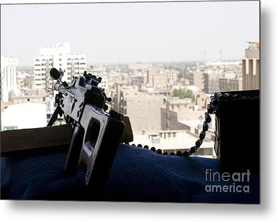 A Pk 7.62mm Machine Gun Nest On Top Metal Print by Terry Moore