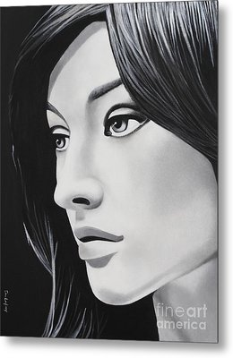 A Portrait In Black And White Metal Print by Dan Lockaby