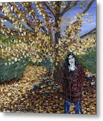 Metal Print featuring the painting A Portrait Of The Artist's Mother In Autumn by Denny Morreale