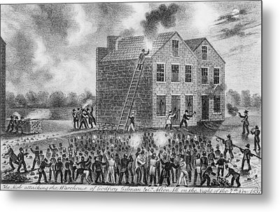 A Pro-slavery Mob Burning Metal Print by Everett