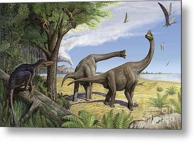 A Raptor Stalks A Pair Of Grazing Metal Print by Sergey Krasovskiy