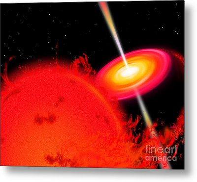 A Red Giant Star Orbiting A Black Hole Metal Print by Ron Miller