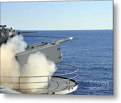A Rim-7 Sea Sparrow Is Launched Metal Print by Stocktrek Images