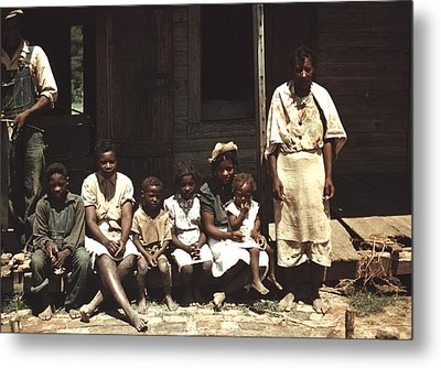 A Rural African American Family Seated Metal Print by Everett