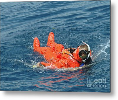 A Sailor Rescued By A Diver Metal Print by Stocktrek Images