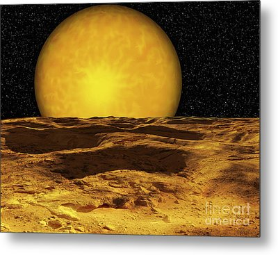 A Scene On A Moon Of Upsilon Andromeda Metal Print by Ron Miller