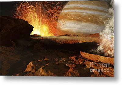 A Scene On Jupiters Moon, Io, The Most Metal Print by Ron Miller
