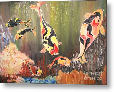 A School Of Koi Metal Print by Rachel Carmichael