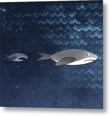 A Small Fish Chasing A Shark Metal Print by Jutta Kuss