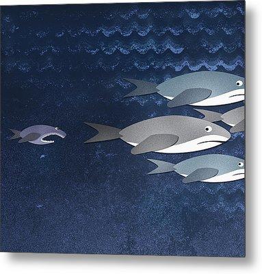 A Small Fish Chasing Three Sharks Metal Print by Jutta Kuss