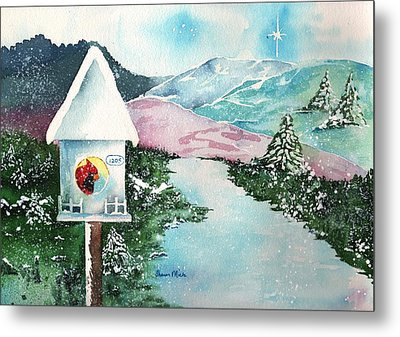 A Snowy Cardinal Day - Christmas Card Metal Print by Sharon Mick