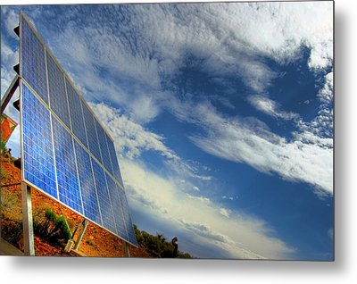 A Solar Panel In The Desert Of South Metal Print by Brooke Whatnall