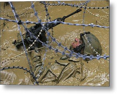 A Soldier Back Crawls Through A Pit Metal Print