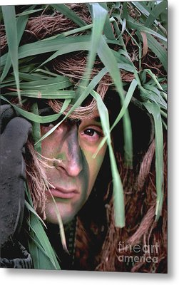 A Soldier Camouflaged In His Ghillie Metal Print by Stocktrek Images