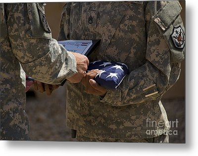 A Soldier Is Presented The American Metal Print by Stocktrek Images
