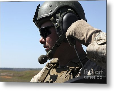 A Soldier Keeps In Radio Contact Metal Print by Stocktrek Images