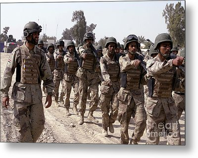 A Soldier Marches His Troops Metal Print by Stocktrek Images