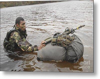 A Soldier Participates In A River Metal Print