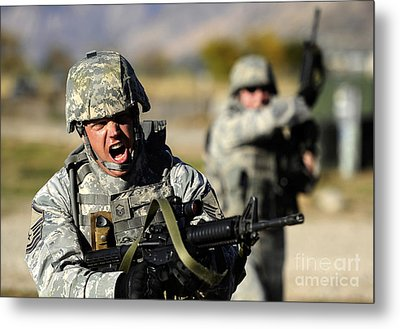 A Soldier Shows His Emotions Metal Print by Stocktrek Images