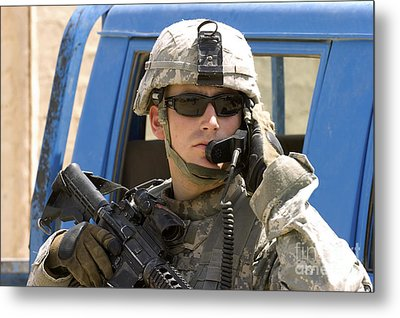 A Soldier Talking Via Radio Metal Print by Stocktrek Images