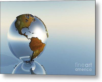 A Sphere Holding North And South Metal Print by Corey Ford