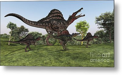 A Spinosaurus Mother Walks Metal Print by Corey Ford