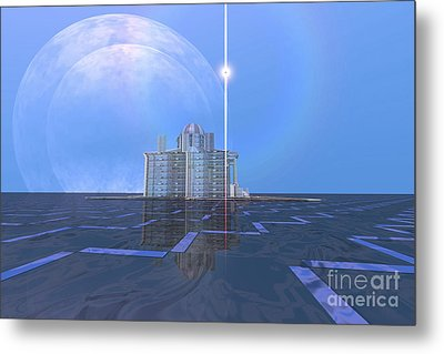 A Star Shines On Alien Architecture Metal Print by Corey Ford