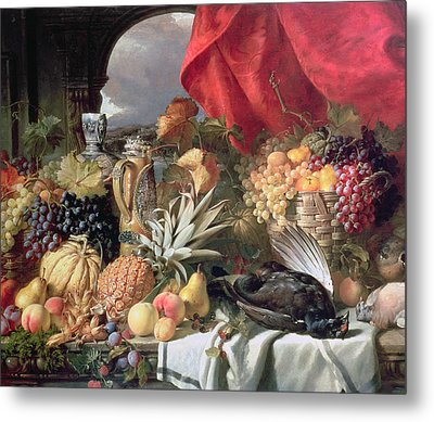 A Still Life Of Game Birds And Numerous Fruits Metal Print by William Duffield