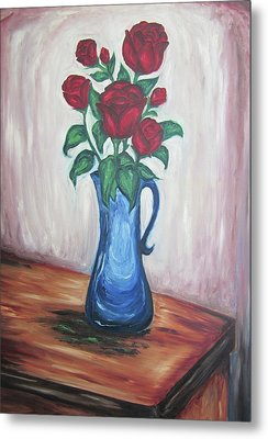 A Still Life Of Red Roses Metal Print
