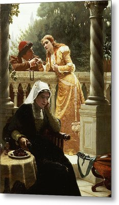 A Stolen Interview Metal Print by Edmund Blair Leighton