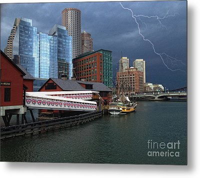 A Storm In Boston Metal Print by Gina Cormier